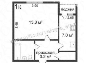 Продажа 1-комнатной квартиры, Вологодская обл., Вологда, Ленинградская улица, 68, фото №2